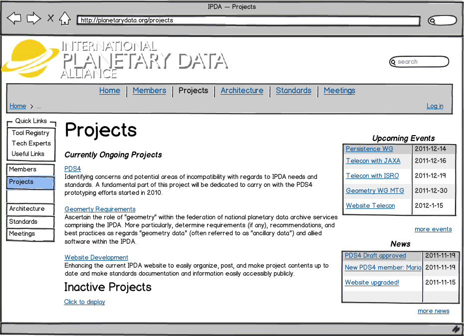 Projects Page Mockup